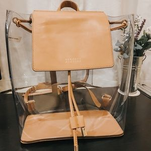 Clear backpack, beige leather, Barneys New York